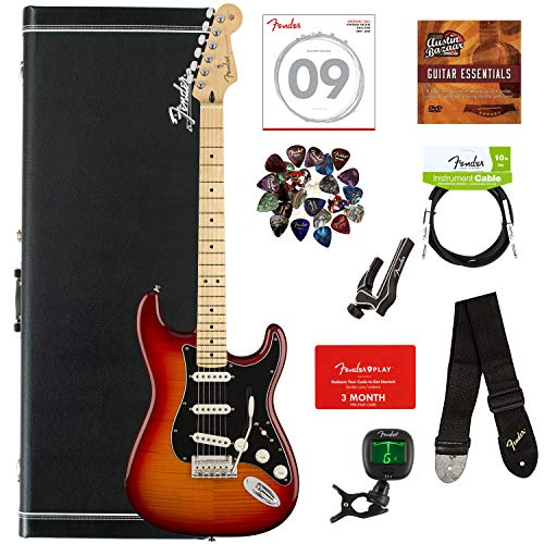Fender Player Stratocaster Plus Top, Maple - Aged Cherry Sunburst Bundle with Case, Cable, Tuner, Strap, Strings, Picks, Capo, Fender Play Online Lessons, and Austin Bazaar Instructional DVD
