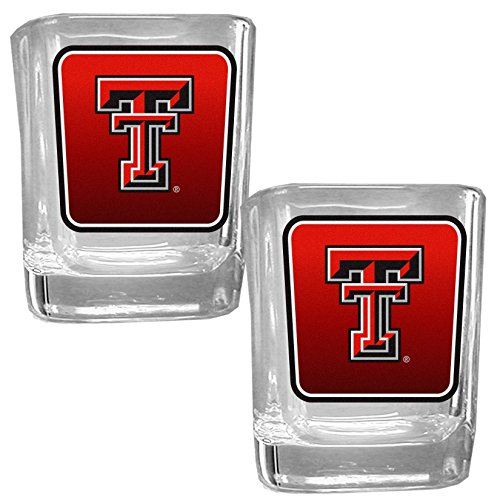 NCAA Texas Tech Red Raiders Square Glass Shot Glass Set (Glass Tech Raiders Red Texas)
