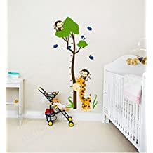 ufengke® Green Tree Cute Monkey Giraffe Birds Height Chart Decals, Children's Room Nursery Removable Wall Stickers Murals