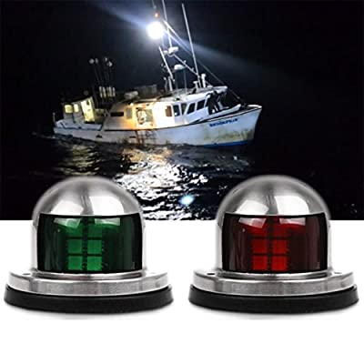 Oxygentle Pontoon Navigation Lights 12V Stainless Steel LED Pontoon Marine Boat Yacht Light Bow Side Lights Pontoons Sailing Signal Light - 2 Pack