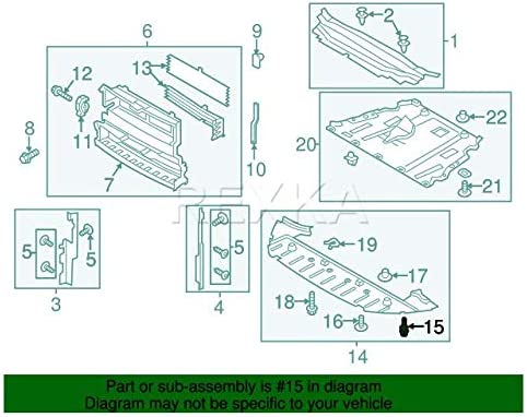 Rexka 15pcs Fender Liner Rivet Radiator Sight Shield Push-Type ...