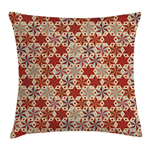 Ambesonne Geometric Throw Pillow Cushion Cover, Abstract Anise Stars Pattern in Warm Retro Colors with Dots Geometric Design, Decorative Square Accent Pillow Case, 16