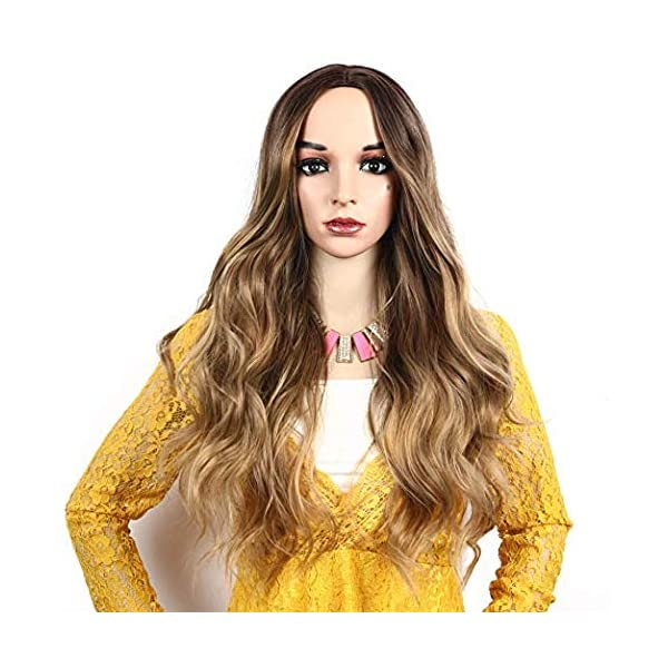 51LTiLVryKL IVY HAIR Scarlet Witch Wanda Maximoff Cosplay Wigs for Women Natural Long Wavy Curly Wig Dark Roots Ombre Blonde Wig…