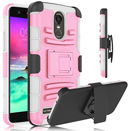 LG Stylo 3 Case, LG Stylus 3 Case, Venoro Heavy Duty Armor Holster Defender Full Body Protective Hybrid Case Cover with Kickstand and Belt Swivel Clip for LG Stylo 3/LG Stylus 3/LS777 (Pink/Grey)