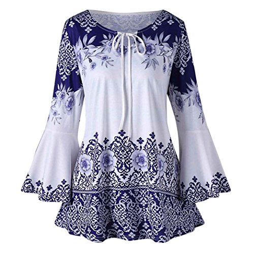 FEITONG Womens Plus Size Printed Flare Sleeve Tops Blouses Lace up -