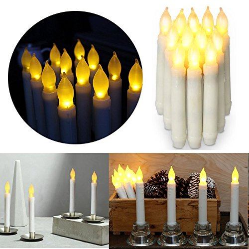 Flameless LED Taper Lights Candles,Battery Operated Votive LED Pillar Candles for Christmas Wedding Birthday Party Halloween Thanksgiving Day Churches Decorations&Home Decor(6.5 x 0.9 (Halloween Wedding Party Favors)