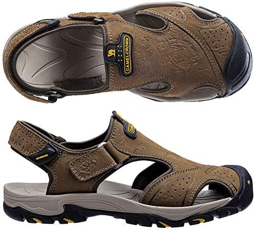 CAMEL CROWN Mens Fisherman Sandal Outdoor Sport Hiking Sandals Casual Mens Shoes-Closed Toe