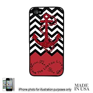 meilinF000Anchor Live the Life You Love Infinity Quote - Red Black White Chevron with Anchor (Not Actual Glitter) iPhone 5c Hard Case - BLACK by Unique Design GiftsmeilinF000