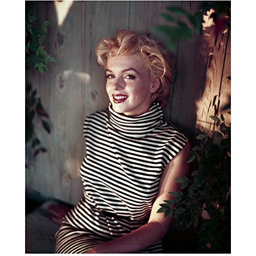 Marilyn Monroe 8 inch x 10 inch PHOTOGRAPH Some Like It Hot The Seven Year Itch Gentlemen Prefer Blondes Looking Flirty in Black & White Striped Sleevelss Dress -