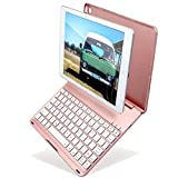 Image of New iPad 9.7 inch 2017 Keyboard Case, KIWETASO Ultra-Thin Bluetooth Keyboard Folio Case Cover with 7 Colors LED Backlit (5th Generation, 2017) and iPad Air(iPad 5,2013),Rose Gold