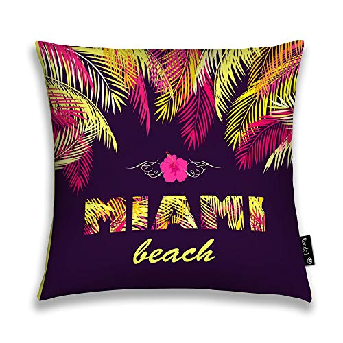 Randell Throw Pillow Covers Party Miami Beach Yellow Pink Palm Leaves Dark Home Decorative Throw Pillowcases Couch Cases 18