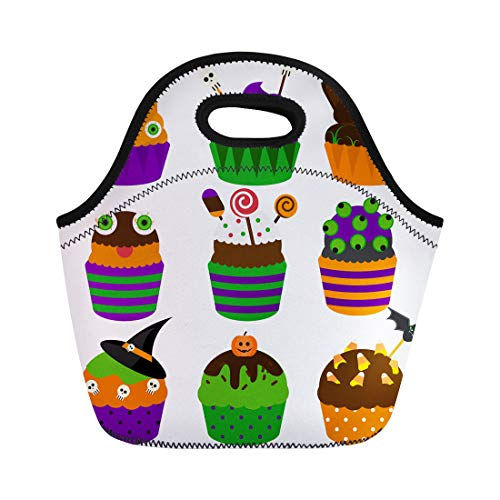 Semtomn Neoprene Lunch Tote Bag Halloween Cupcakes Flat Sweet Bakery Decorated Skull Candy Yummy Reusable Cooler Bags Insulated Thermal Picnic Handbag for Travel,School,Outdoors,Work]()
