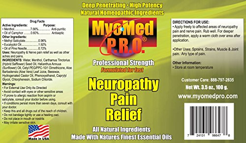 Best Neuropathy Pain Relief Cream. Clinically Proven Essential Oil Formula Gives You Fast Treatment For Neuropathy Pain & All Types Of Pain. Money Back Guarantee. Made In USA. By Myomed P.R.O. 3.5 oz