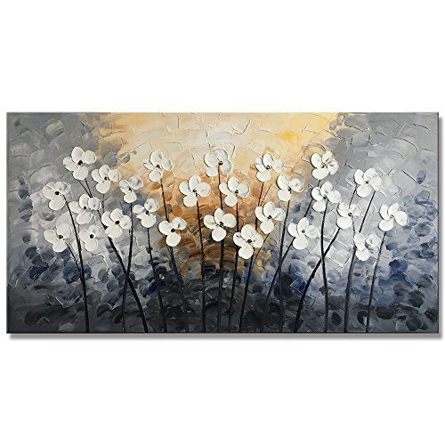 (Yihui Arts Floral Paintings Canvas Wall Art Living Room Decor Contemporary Grey Artwork Pictures Framed Ready to Hang (24Wx48L))
