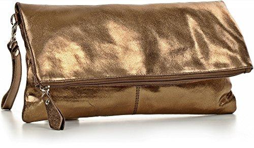 CNTMP - bolso para señora, clutch, bolso clutch,bolso de cuero metálico, bolsos de tendencia, bolsas, bolso de fiesta, bolso de mano, 32 x 17 x 2, 5 cm (l x an x a) Bronce