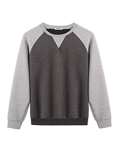 HOTOUCH Men's Boatneck Fleece HEAVY WEIGHT Full-Zip Hooded Sweatshirts Grey L