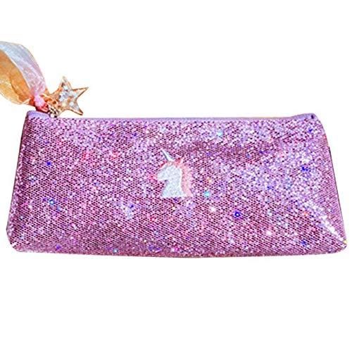 (Encorashop Cute Shiny Sequins Premium Unicorn Pencil Case Glitter Sparkly Pencil Storage Embroidered Cosmetic Bag Pouch(Purple) )