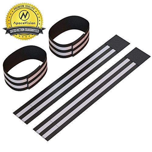Reflective Ankle Bands (4 Bands/2 Pairs) | High Visibility and Safety for Jogging/Cycling/Walking etc | Works as Wristbands, Armband, Leg Straps | Accessories for Sports/Running Gear (Neon Black)