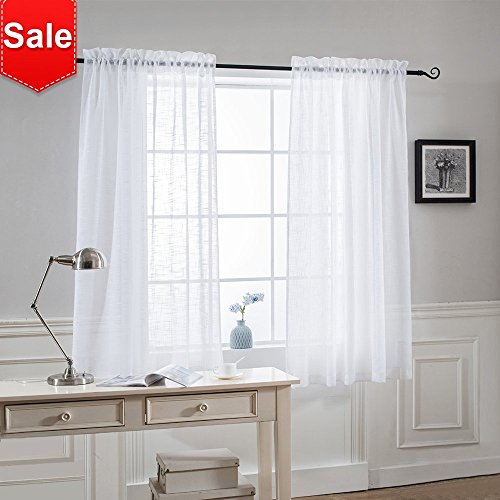 NICETOWN Thick Sheer Curtains for Small Window - Linen Look Vertical Semi Sheer Drapes for Bathroom, 52 Inch Width, 45 Inch Length, 1 Pair