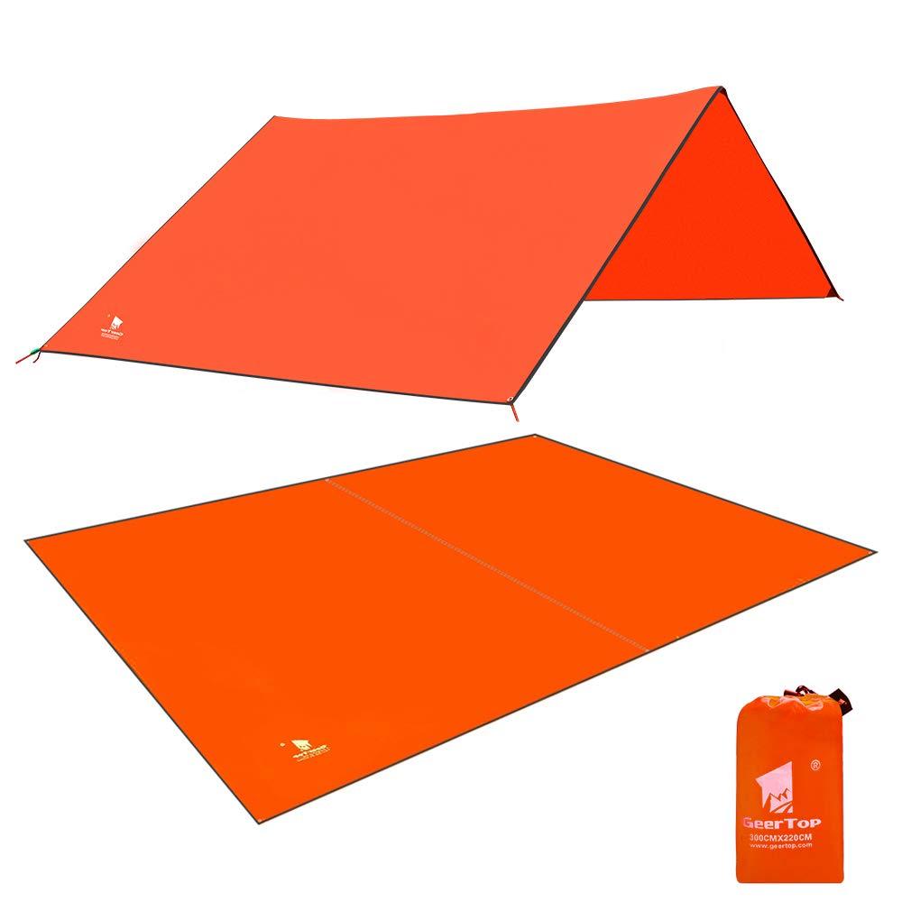 GEERTOP Portable Tent Ground Cover Waterproof Hammock Rain Fly Camp Footprint Sheet Tent Tarp Mat Canopy for Camping Hiking Picnic (Orange) by GEERTOP