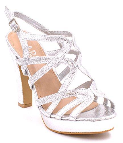 SHU CRAZY Womens Ladies Metallic High Heel Sling Back Buckle Strap Open Toe Platform Fashion Party Evening Sandals Shoes - D90 Silver 0xFq6cCC