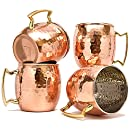 Moscow Mule Copper Mugs Set of 4 by Coppertisan - Handmade of 100% Pure Copper - Best Moscow Mule Mugs with Moscow Mule Recipes (Barrel Hammered -)