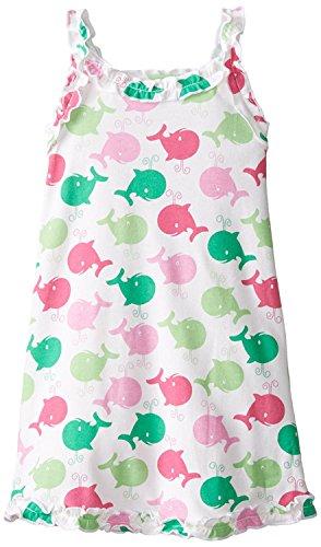 Sara's Prints Little Girls' Girls Ruffle Tank Nightgown, Spouting Whales Pink, 5 (Print Nightgown)
