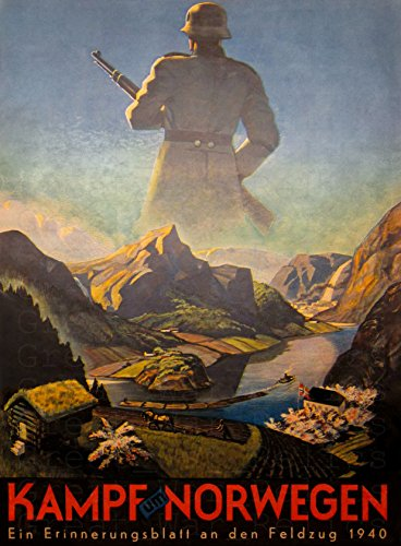 UpCrafts Studio Design German Propaganda Poster 11.7 x16.5 - Kampf UM NORWEGEN - WW2 Norway Print Military Wall Art Decorations, Reproduction