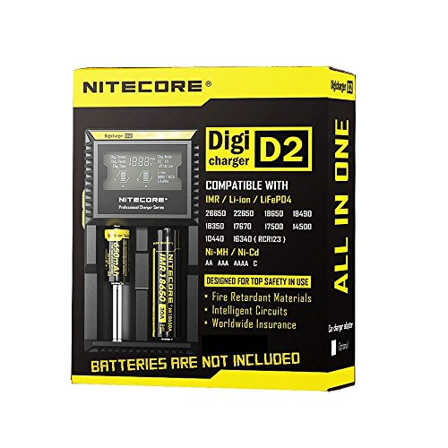 Price comparison product image 2 Samsung INR18650 Battery and Nitecore D2 Intelligent Digi Charger - US PLUG BLACK LH0027203 with LCD Monitor for 26650 18650 16340 RCR123 14500 10400 AAAA AAA AA C Batteries