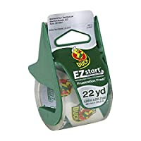 Cinta de embalaje EZ Start de Duck Brand con dispensador, 1,88 pulgadas x 22,2 yardas, transparente, 1 rollo (393185)