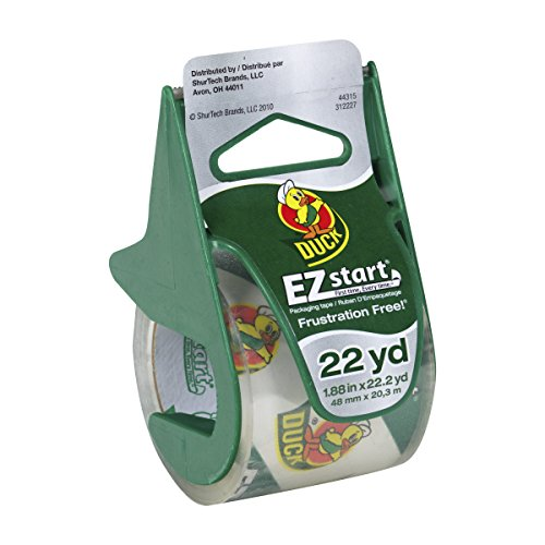 Duck Brand 393185 1.88 Inch by 22.2 Yard EZ Start Carton Sealing Tape with Dispenser, Clear (Carton Sealing)