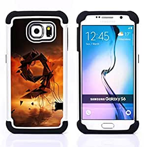 GIFT CHOICE / Defensor Cubierta de protección completa Flexible TPU Silicona + Duro PC Estuche protector Cáscara Funda Caso / Combo Case for Samsung Galaxy S6 SM-G920 // Abstract 9 //