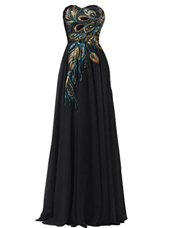 WAWALI Peacock Pattern Hand Embroidery Prom Dresses Evening Pary Gowns 2 Black