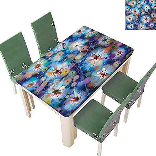 (Decorative Tablecloth Vivid Fairy Pattern with Firefly Bug Mother Earth Design Turquoise Purple Assorted Size 54 x 102 Inch (Elastic Edge))