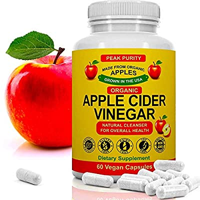 100% Organic Raw Apple Cider Vinegar Capsules - All Natural Detox Gut Cleanse & Immune Support Pills - Weight Loss, Fat Burner, Appetite Suppressant & Metabolism Booster Supplement - 1000 mg