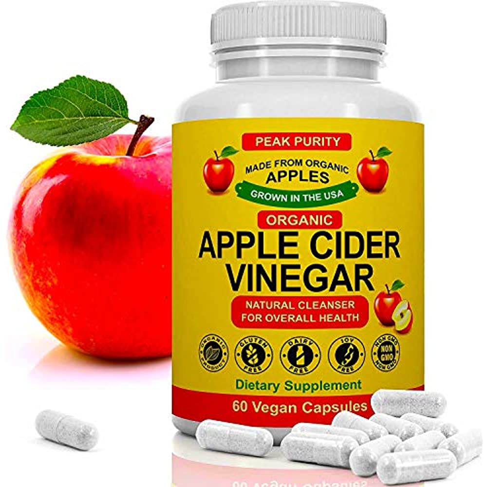 Details About 100 Organic Raw Apple Cider Vinegar Acv Pills Weight Loss 1000 Mg 60 Capsules