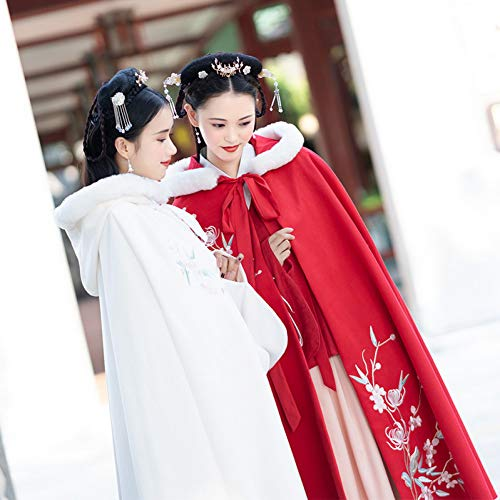 WHFDHF Dress Hanfu Vrouwelijke Montage Decoratie Chrysant Borduurwerk Dik Dubbelzijdig WOL Rood En Wit Twee-Kleur Lange Poncho Warm
