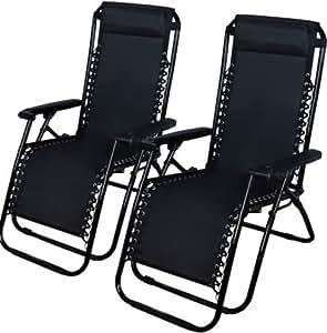2exterior cero gravedad silla de salón playa Patio piscina Patio reclinable plegable negro
