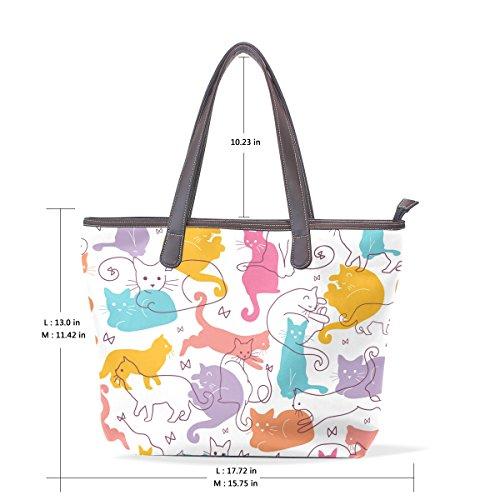 Colorful 33x45x13 Gatti Di Tote Coosun Multicolore Bag 002 Cuoio Modello Maniglia Pu L Cm Shoulder Bags Grandi gwOppqFWd