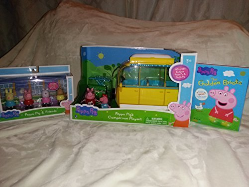 Peppa Pig Playset Bundle: Peppa Pig's Campervan Playset, The Golden Boots DVD (9 Episodes), and Peppa Pig and Friends (4 Figurines)