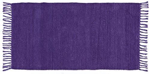 Weicher Teppich Soft uni LILA Chenille 80 x 150 cm, beidseitig verwendbar, waschbar