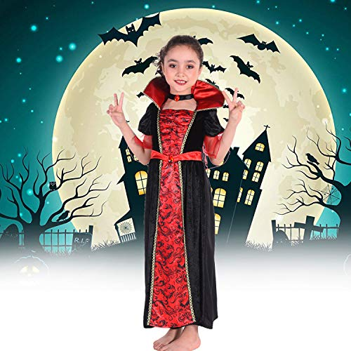 Midnight Vamp Costume (Suppromo Vampire Costume for Girls Kids Child Party Halloween Costumes, Vampire Outfit Dress Up)