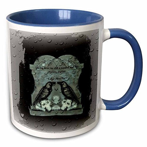 3dRose ET Photography - Halloween Designs - Two Ravens on tombstone with a quote from Poe - 15oz Two-Tone Blue Mug (mug_162111_11) -