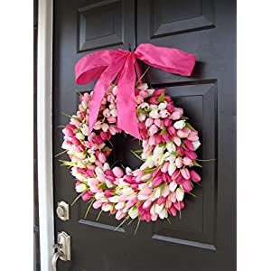 Elegant Holidays Handmade Pink/White Silk Tulip Wreath w/Bow- Decorative Home Décor for Indoor/Outdoor- Welcome Guests in Spring, Summer Front Door Wreaths- Mother's Day Holiday Accent 16-26 inch 2