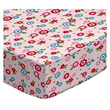 SheetWorld Fitted Oval Crib Sheet (Stokke Sleepi) - Mini Floral Pink - Made In USA - 26 inches x 47 inches (66 cm x 119.4 cm)