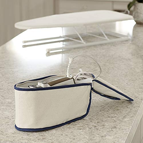 Household Essentials 900 Polyester Cotton Canvas Iron Caddy Storage Bag, Natural, Blue Trim