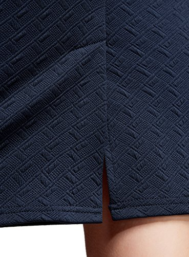 oodji Ultra Mujer Falda-Lapiz de Tejido Texturizado Azul (7900N)