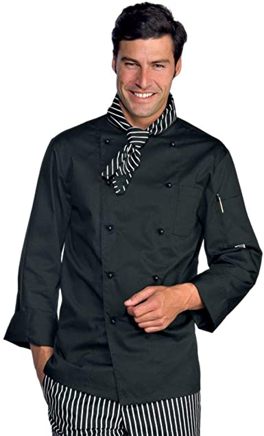 Chaqueta negra para hombre de chef cocinero de polialgodón ...