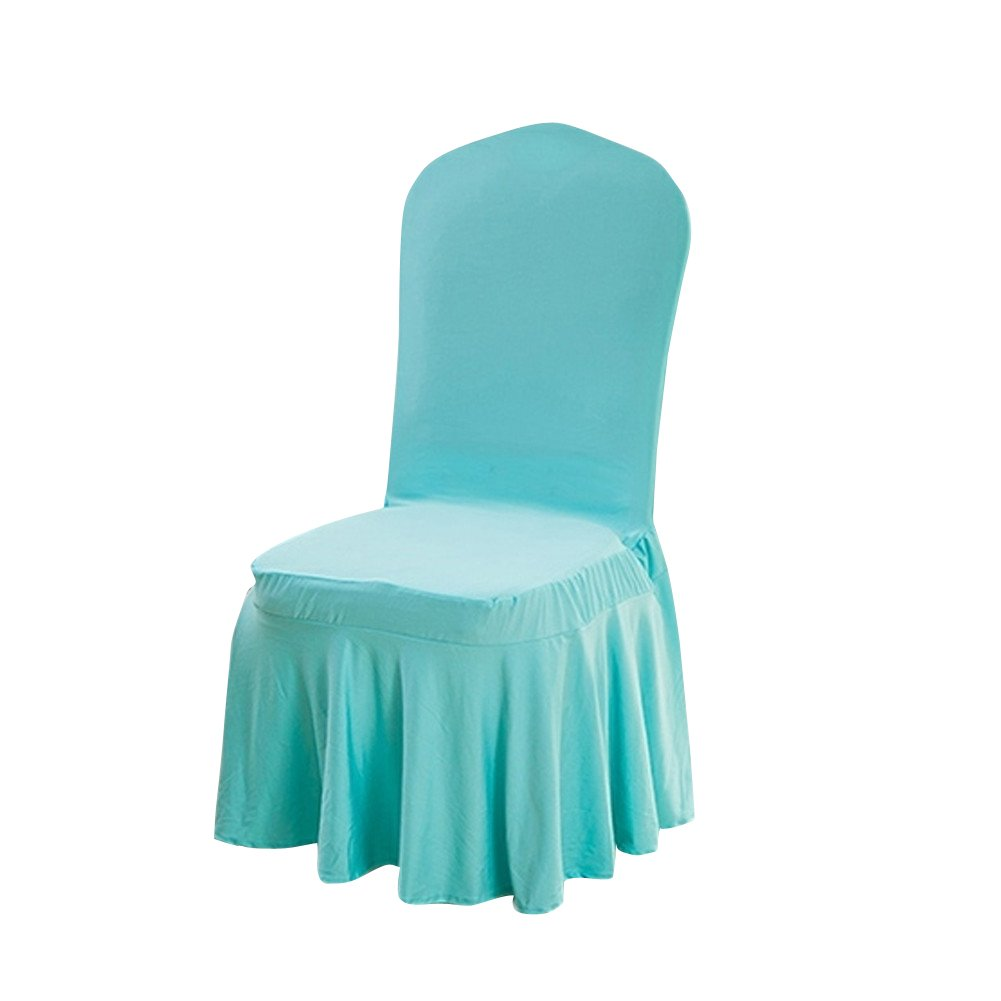 Deisy Dee Elasticity Polyester Removable Solid Color Ruffled Long Skirt Dining Chair Slipcovers 9 Color (1PCS) C046 (Golden)
