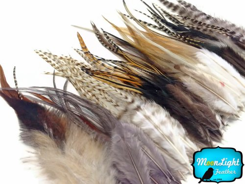 Moonlight Feather, Feather Hair Extensions - Short Rooster Hair Extension Feathers - 100 Pieces